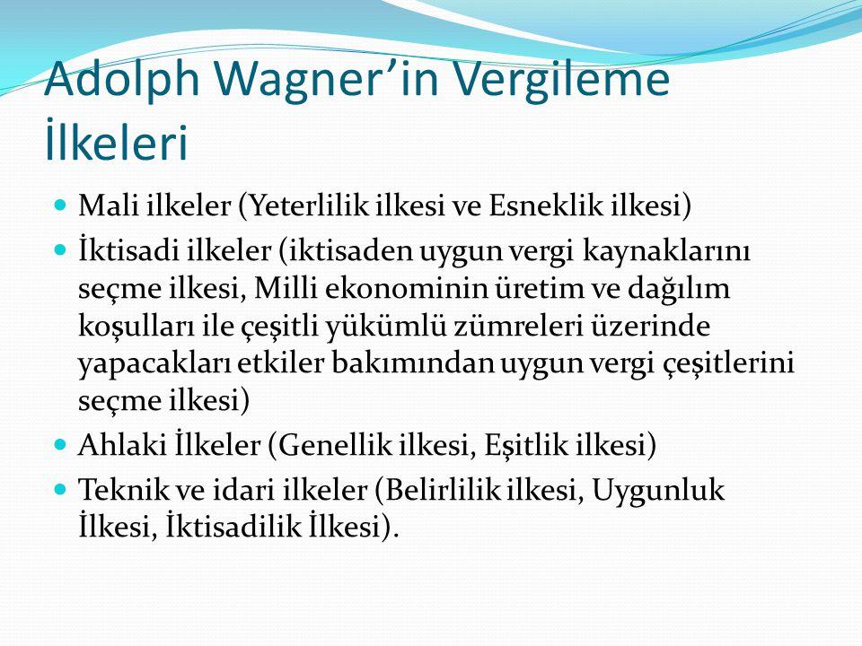 Adolph Wagner'in Vergileme İlkeleri Mali ilkeler (Yeterlilik ilkesi ve Esneklik ilkesi) İktisadi ilkeler (iktisaden uygun vergi kaynaklarını seçme ilkesi, Milli ekonominin üretim ve dağılım koşulları ile çeşitli yükümlü zümreleri üzerinde yapacakları etkiler bakımından uygun vergi çeşitlerini seçme ilkesi) Ahlaki İlkeler (Genellik ilkesi, Eşitlik ilkesi) Teknik ve idari ilkeler (Belirlilik ilkesi, Uygunluk İlkesi, İktisadilik İlkesi).