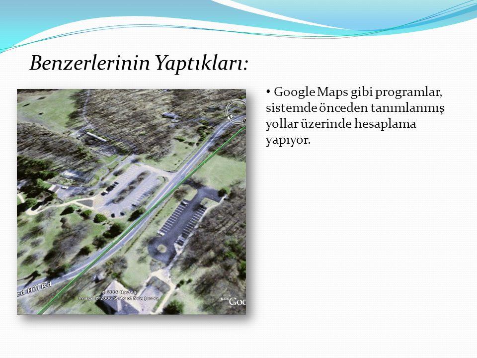 Benzerlerinin Yaptıkları: Google Maps gibi programlar, sistemde önceden tanımlanmış yollar üzerinde hesaplama yapıyor.