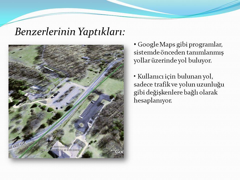 Benzerlerinin Yaptıkları: Google Maps gibi programlar, sistemde önceden tanımlanmış yollar üzerinde yol buluyor.