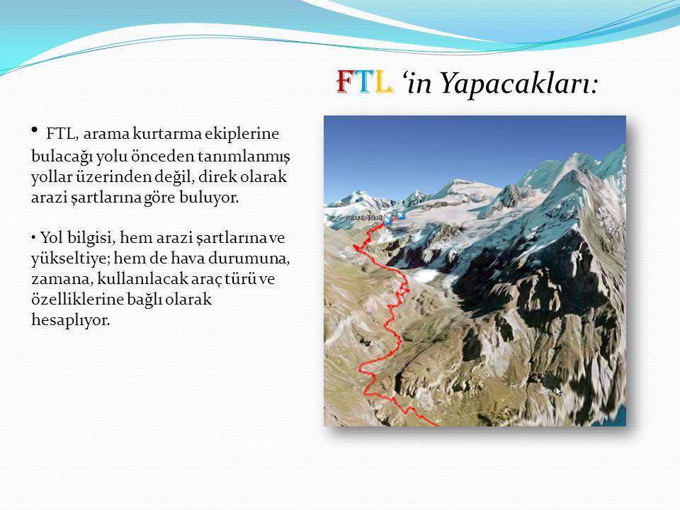 FTL 'in Yapacakları: FTL, arama kurtarma ekiplerine bulacağı yolu önceden tanımlanmış yollar üzerinden değil, direk olarak arazi şartlarına göre buluyor.