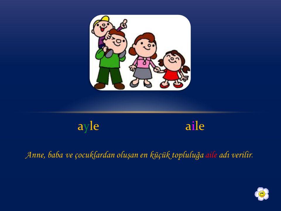 ayleaile Anne, baba ve çocuklardan oluşan en küçük topluluğa aile adı verilir.