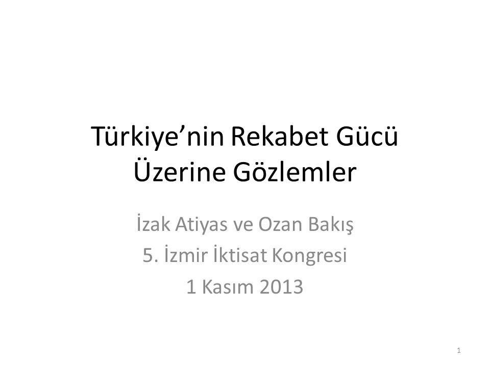 Türkiye'nin Rekabet Gücü Üzerine Gözlemler İzak Atiyas ve Ozan Bakış 5. İzmir İktisat Kongresi 1 Kasım 2013 1