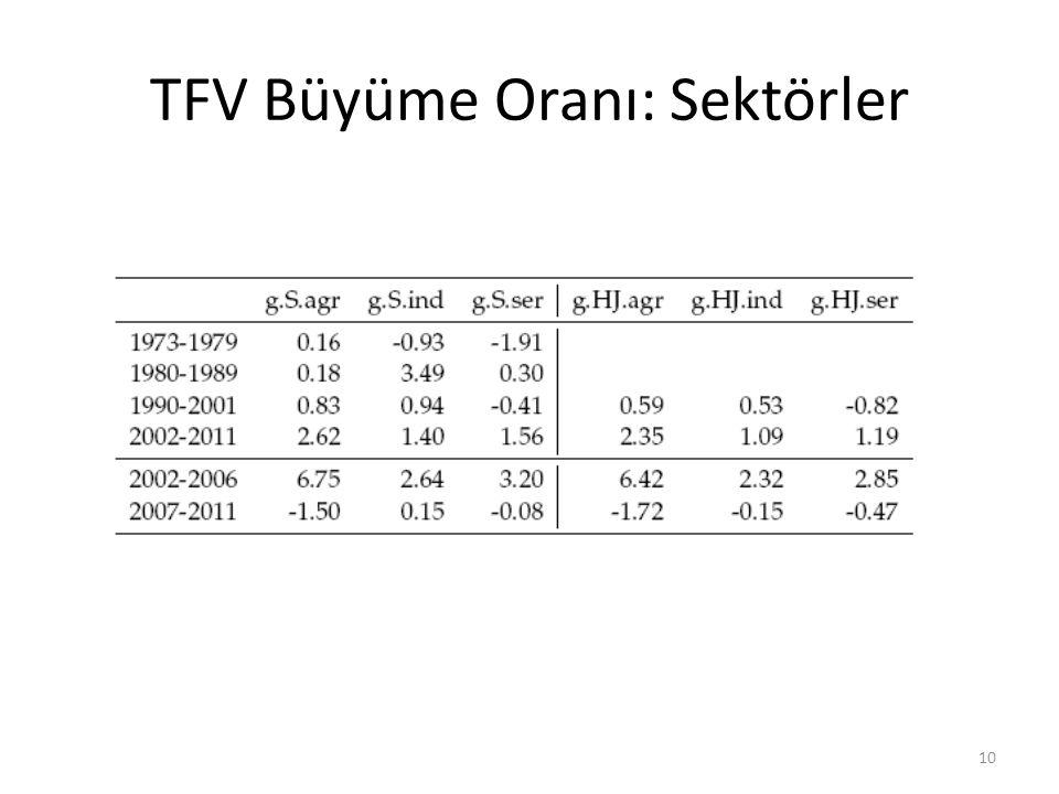TFV Büyüme Oranı: Sektörler 10