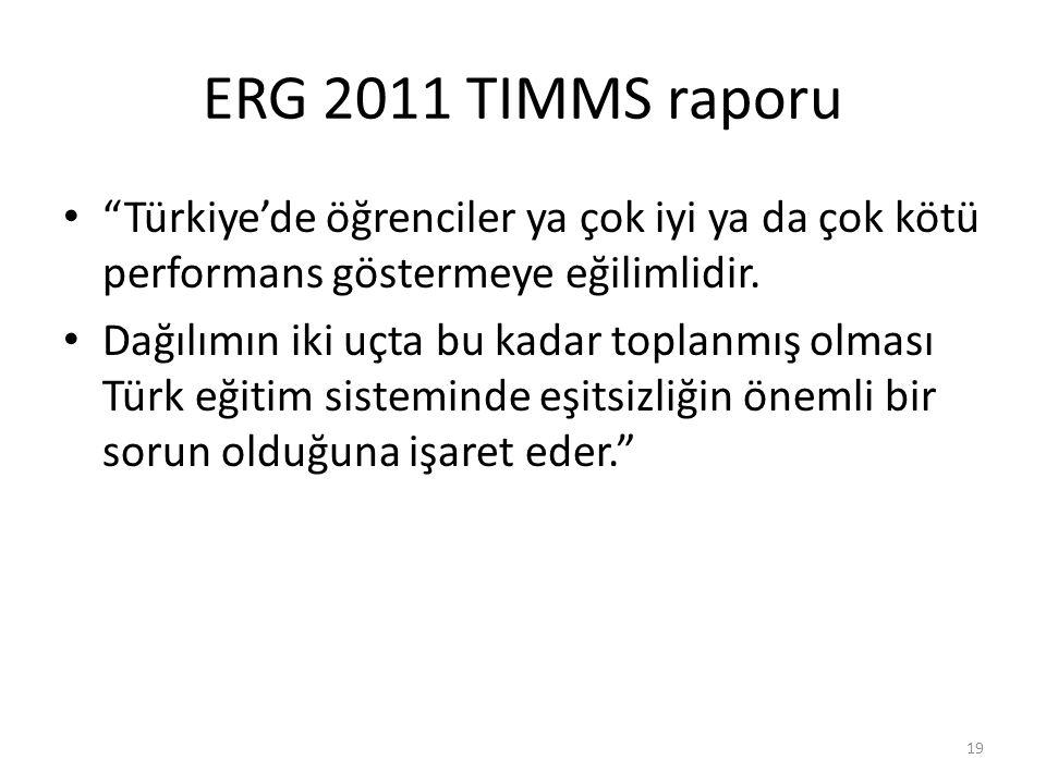 """ERG 2011 TIMMS raporu """"Türkiye'de öğrenciler ya çok iyi ya da çok kötü performans göstermeye eğilimlidir. Dağılımın iki uçta bu kadar toplanmış olması"""