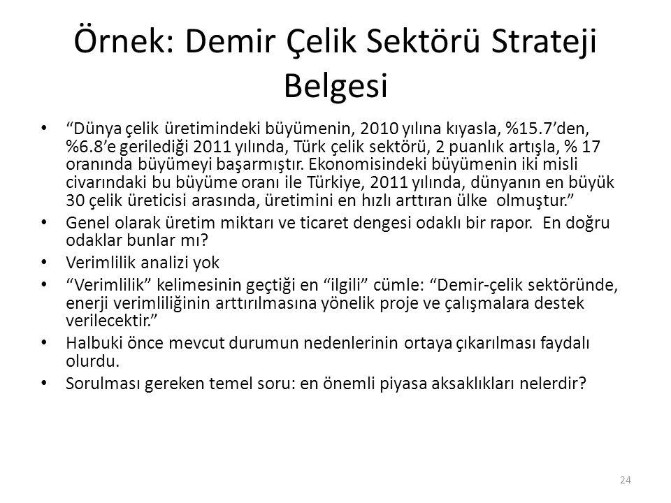"""Örnek: Demir Çelik Sektörü Strateji Belgesi """"Dünya çelik üretimindeki büyümenin, 2010 yılına kıyasla, %15.7'den, %6.8'e gerilediği 2011 yılında, Türk"""