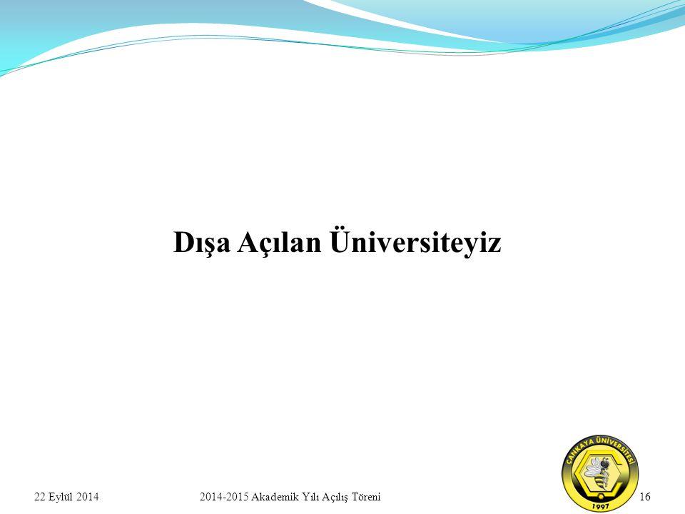 22 Eylül 2014162014-2015 Akademik Yılı Açılış Töreni Dışa Açılan Üniversiteyiz