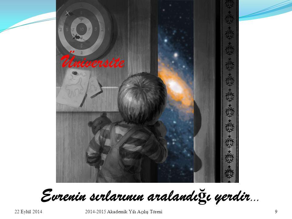 22 Eylül 201492014-2015 Akademik Yılı Açılış Töreni Evrenin sırlarının aralandı ğ ı yerdir … Üniversite
