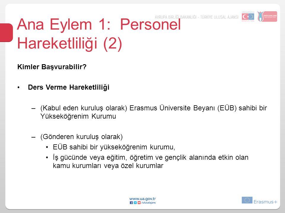 Ana Eylem 1: Personel Hareketliliği (2) Kimler Başvurabilir? Ders Verme Hareketliliği –(Kabul eden kuruluş olarak) Erasmus Üniversite Beyanı (EÜB) sah