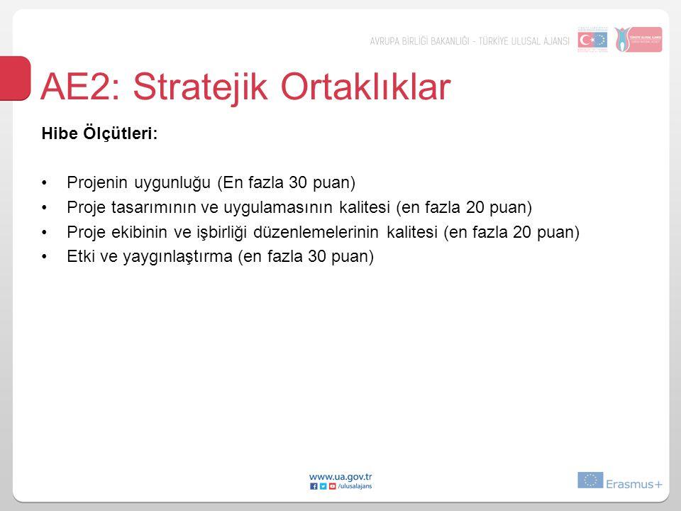 AE2: Stratejik Ortaklıklar Hibe Ölçütleri: Projenin uygunluğu (En fazla 30 puan) Proje tasarımının ve uygulamasının kalitesi (en fazla 20 puan) Proje