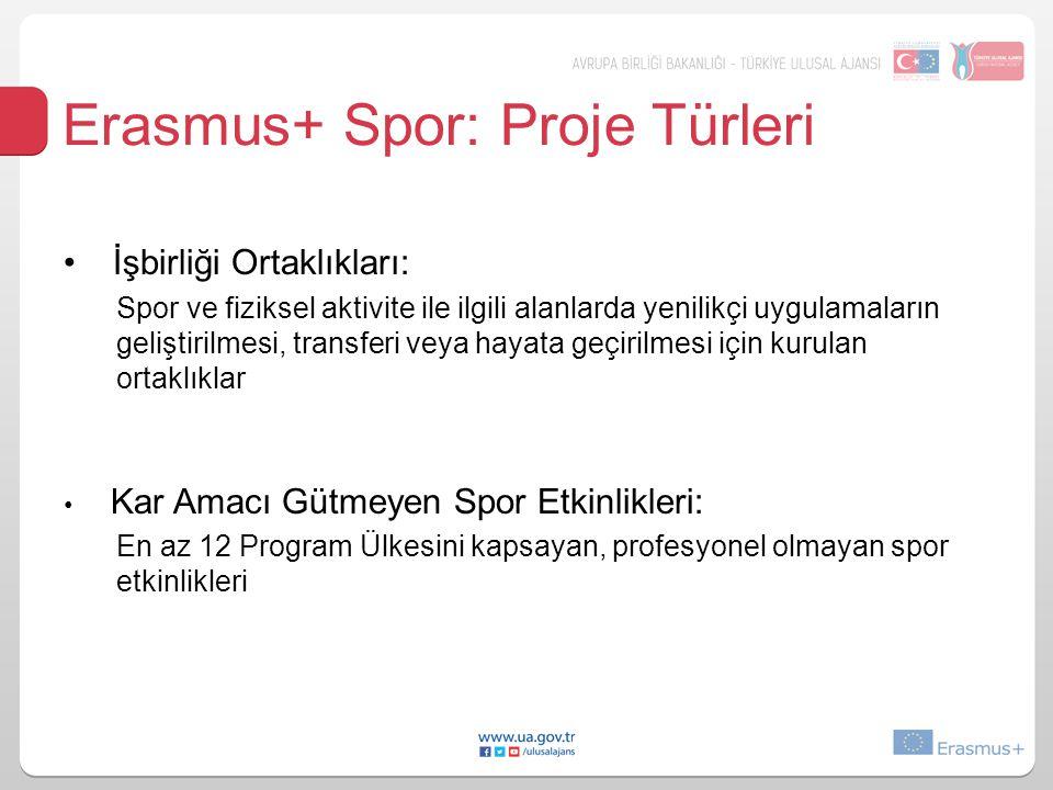 Erasmus+ Spor: Proje Türleri İşbirliği Ortaklıkları: Spor ve fiziksel aktivite ile ilgili alanlarda yenilikçi uygulamaların geliştirilmesi, transferi veya hayata geçirilmesi için kurulan ortaklıklar Kar Amacı Gütmeyen Spor Etkinlikleri: En az 12 Program Ülkesini kapsayan, profesyonel olmayan spor etkinlikleri
