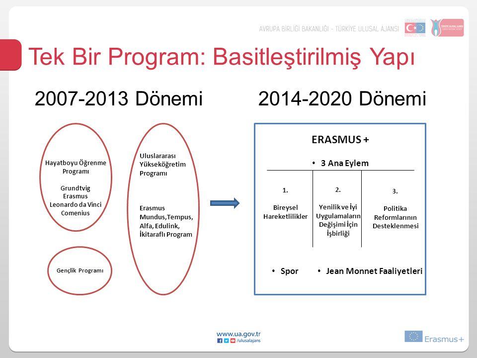 Tek Bir Program: Basitleştirilmiş Yapı 2007-2013 Dönemi 2014-2020 Dönemi Hayatboyu Öğrenme Programı Grundtvig Erasmus Leonardo da Vinci Comenius Gençl