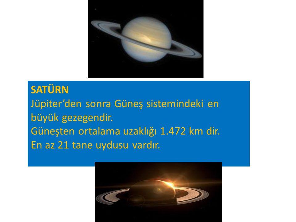 SATÜRN Jüpiter'den sonra Güneş sistemindeki en büyük gezegendir. Güneşten ortalama uzaklığı 1.472 km dir. En az 21 tane uydusu vardır.