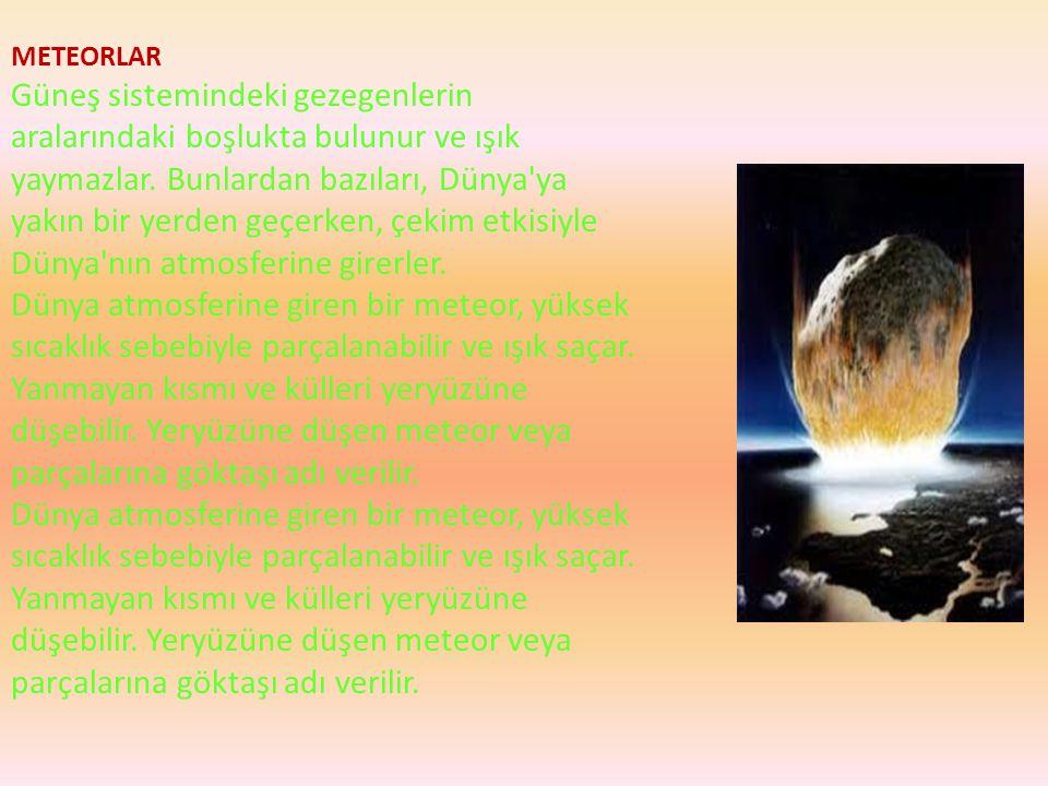 METEORLAR Güneş sistemindeki gezegenlerin aralarındaki boşlukta bulunur ve ışık yaymazlar. Bunlardan bazıları, Dünya'ya yakın bir yerden geçerken, çek