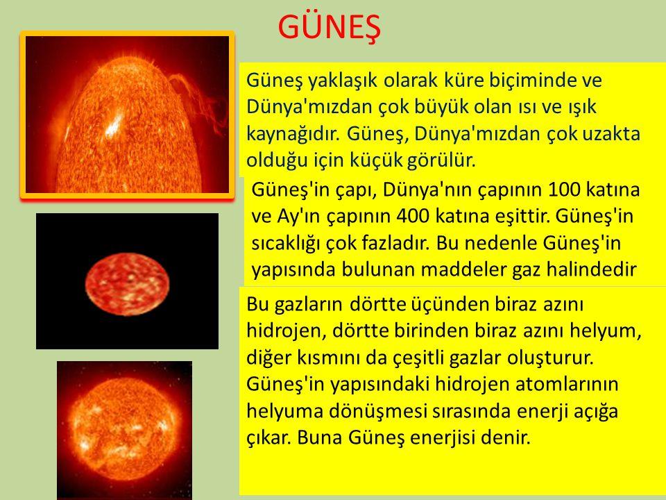 GÜNEŞ Güneş yaklaşık olarak küre biçiminde ve Dünya'mızdan çok büyük olan ısı ve ışık kaynağıdır. Güneş, Dünya'mızdan çok uzakta olduğu için küçük gör