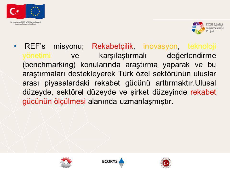 REF's misyonu; Rekabetçilik, inovasyon, teknoloji yönetimi ve karşılaştırmalı değerlendirme (benchmarking) konularında araştırma yaparak ve bu araştırmaları destekleyerek Türk özel sektörünün uluslar arası piyasalardaki rekabet gücünü arttırmaktır.Ulusal düzeyde, sektörel düzeyde ve şirket düzeyinde rekabet gücünün ölçülmesi alanında uzmanlaşmıştır.