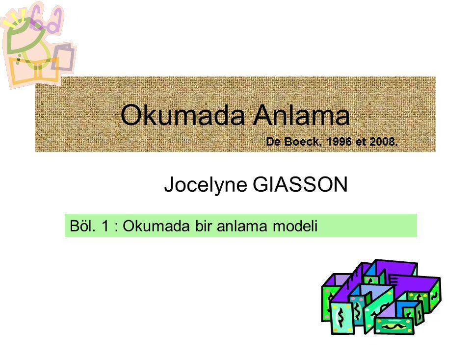 Okumada Anlama Jocelyne GIASSON Böl. 1 : Okumada bir anlama modeli De Boeck, 1996 et 2008.
