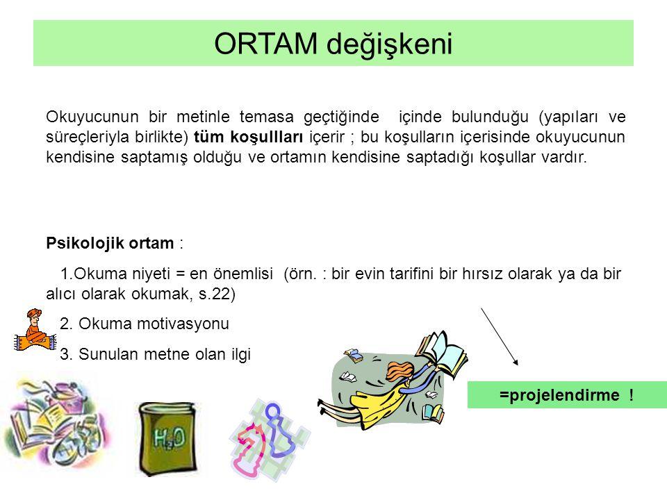 ORTAM değişkeni Okuyucunun bir metinle temasa geçtiğinde içinde bulunduğu (yapıları ve süreçleriyla birlikte) tüm koşullları içerir ; bu koşulların iç