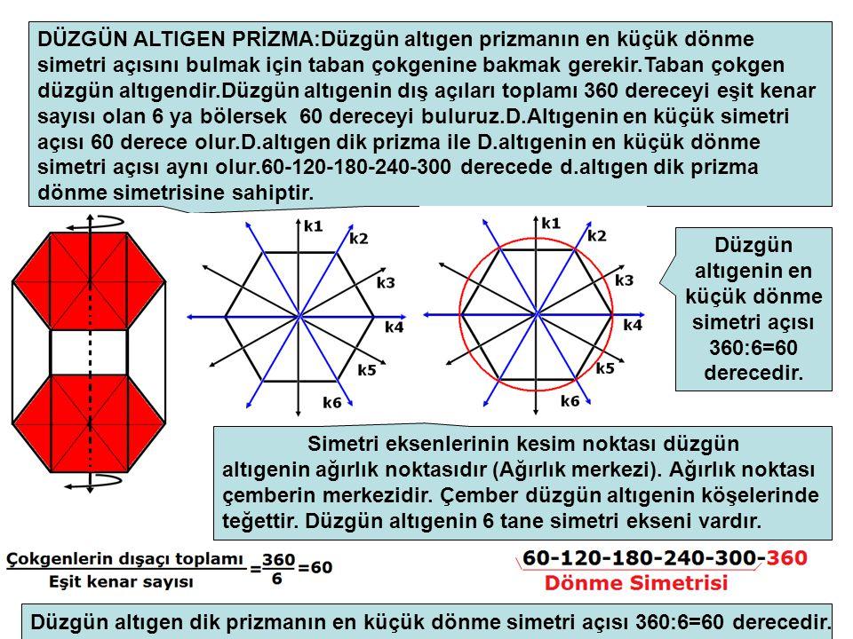 DÜZGÜN ALTIGEN PRİZMA:Düzgün altıgen prizmanın en küçük dönme simetri açısını bulmak için taban çokgenine bakmak gerekir.Taban çokgen düzgün altıgendir.Düzgün altıgenin dış açıları toplamı 360 dereceyi eşit kenar sayısı olan 6 ya bölersek 60 dereceyi buluruz.D.Altıgenin en küçük simetri açısı 60 derece olur.D.altıgen dik prizma ile D.altıgenin en küçük dönme simetri açısı aynı olur.60-120-180-240-300 derecede d.altıgen dik prizma dönme simetrisine sahiptir.