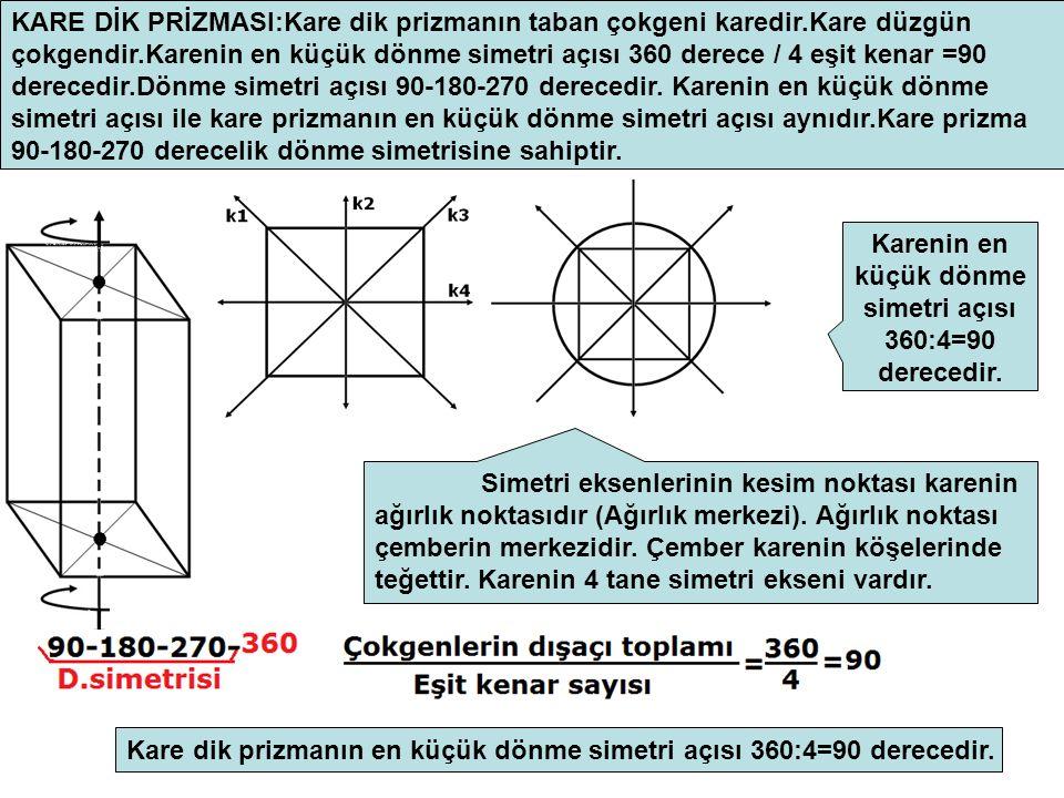 KARE DİK PRİZMASI:Kare dik prizmanın taban çokgeni karedir.Kare düzgün çokgendir.Karenin en küçük dönme simetri açısı 360 derece / 4 eşit kenar =90 derecedir.Dönme simetri açısı 90-180-270 derecedir.