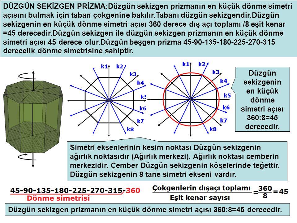 DÜZGÜN SEKİZGEN PRİZMA:Düzgün sekizgen prizmanın en küçük dönme simetri açısını bulmak için taban çokgenine bakılır.Tabanı düzgün sekizgendir.Düzgün sekizgenin en küçük dönme simetri açısı 360 derece dış açı toplamı /8 eşit kenar =45 derecedir.Düzgün sekizgen ile düzgün sekizgen prizmanın en küçük dönme simetri açısı 45 derece olur.Düzgün beşgen prizma 45-90-135-180-225-270-315 derecelik dönme simetrisine sahiptir.