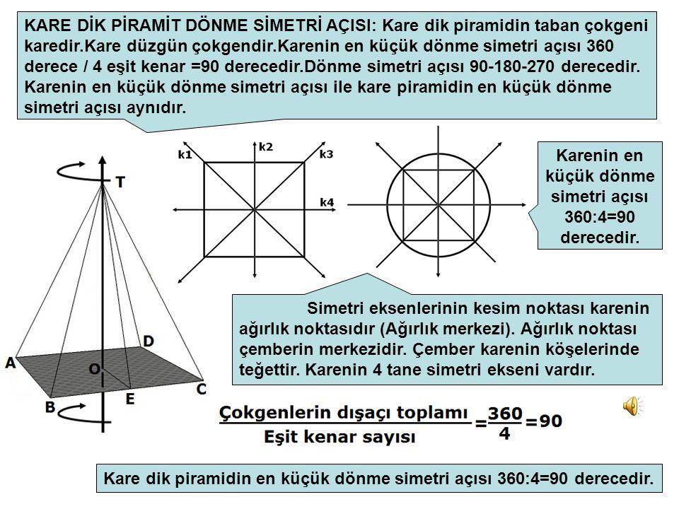 KARE DİK PİRAMİT DÖNME SİMETRİ AÇISI: Kare dik piramidin taban çokgeni karedir.Kare düzgün çokgendir.Karenin en küçük dönme simetri açısı 360 derece / 4 eşit kenar =90 derecedir.Dönme simetri açısı 90-180-270 derecedir.