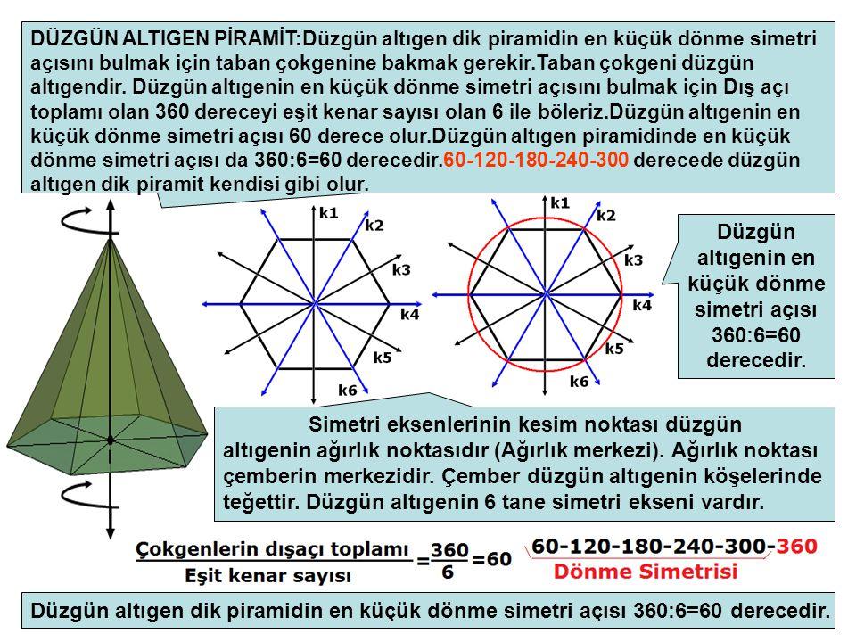 Düzgün altıgenin en küçük dönme simetri açısı 360:6=60 derecedir.