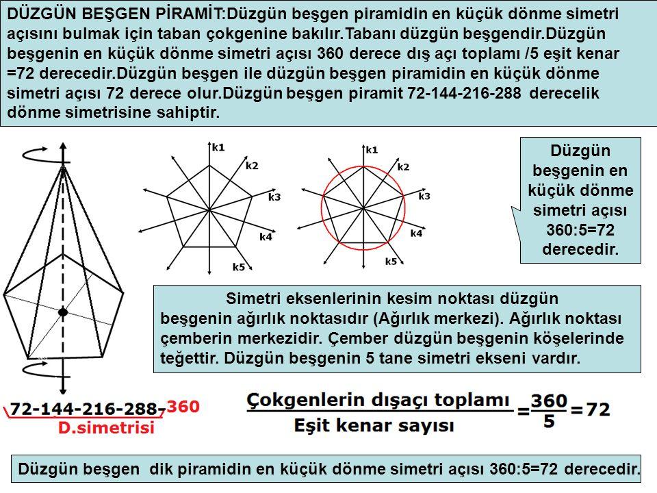 DÜZGÜN BEŞGEN PİRAMİT:Düzgün beşgen piramidin en küçük dönme simetri açısını bulmak için taban çokgenine bakılır.Tabanı düzgün beşgendir.Düzgün beşgenin en küçük dönme simetri açısı 360 derece dış açı toplamı /5 eşit kenar =72 derecedir.Düzgün beşgen ile düzgün beşgen piramidin en küçük dönme simetri açısı 72 derece olur.Düzgün beşgen piramit 72-144-216-288 derecelik dönme simetrisine sahiptir.
