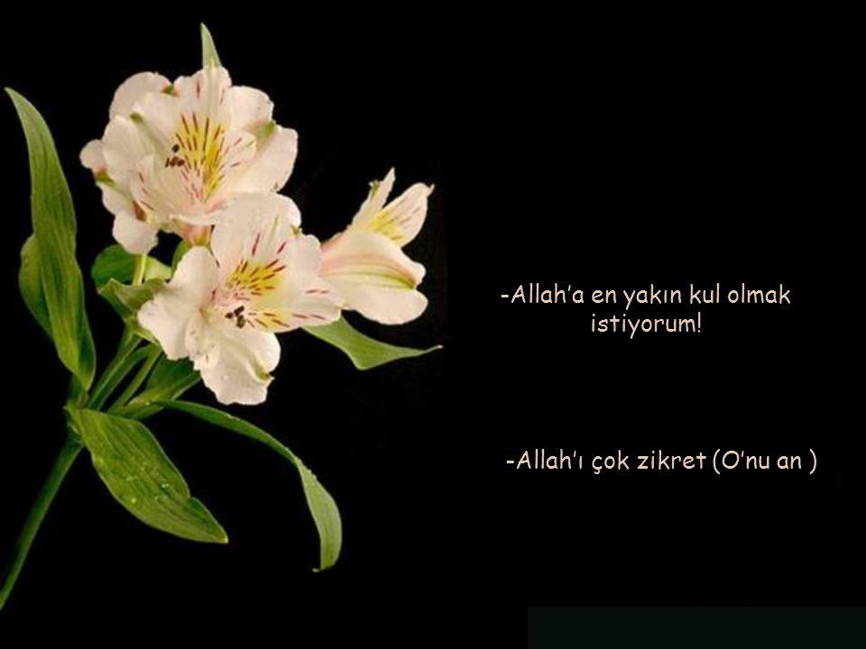-Allah'a en yakın kul olmak istiyorum! -Allah'ı çok zikret (O'nu an )