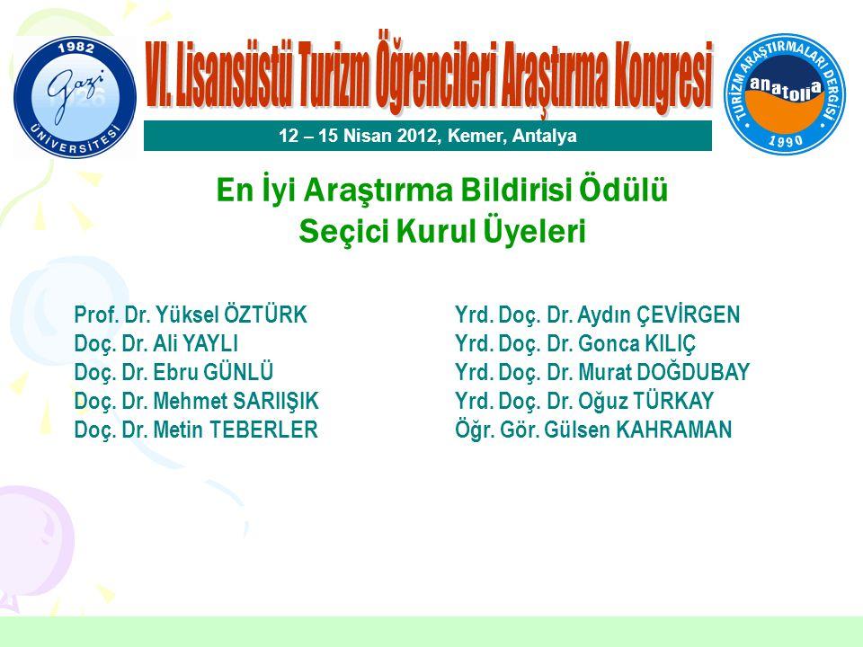 En İyi Araştırma Bildirisi Ödülü Sertaç SERT Gaziosmanpaşa Üniversitesi Aylin NALÇACI İKİZ Nevşehir Üniversitesi 12 – 15 Nisan 2012, Kemer, Antalya Bildirinin Başlığı Turizmin Bilimsel Konumuna İlişkin Akademisyenlerin Tutumları Üzerine Bir Araştırma