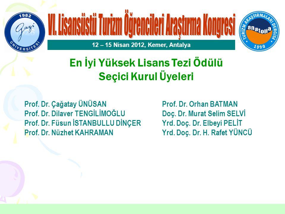 En İyi Yüksek Lisans Tezi Ödülü Furkan BALTACI Akdeniz Üniversitesi 12 – 15 Nisan 2012, Kemer, Antalya Danışman: Prof.