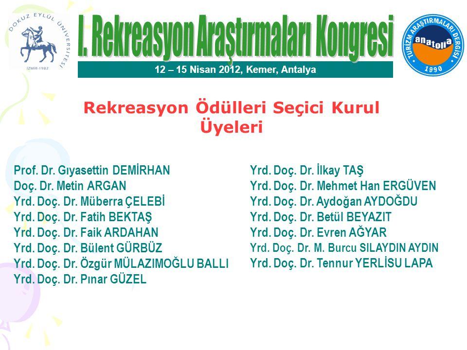 Rekreasyon Alanında En İyi Poster Bildiri Ödülü 12 – 15 Nisan 2012, Kemer, Antalya Özgü DEMİR- Bülent GÜRBÜZ Ahi Evran Üniversitesi Gizem DOĞDUBAY-Özlem YENİGÜN Sakarya Üniversitesi