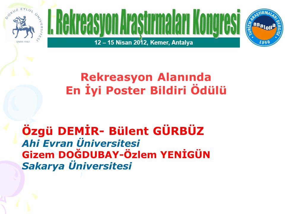 Rekreasyon Alanında En İyi Bildiri Ödülü 12 – 15 Nisan 2012, Kemer, Antalya Canan KOCA- Pınar ÖZTÜRK Hacettepe Üniversitesi Bildirinin Başlığı Sosyal Fizik Kaygı ve Rekreasyonel Egzersize Güdülenme Arasındaki İlişkinin İncelenmesi