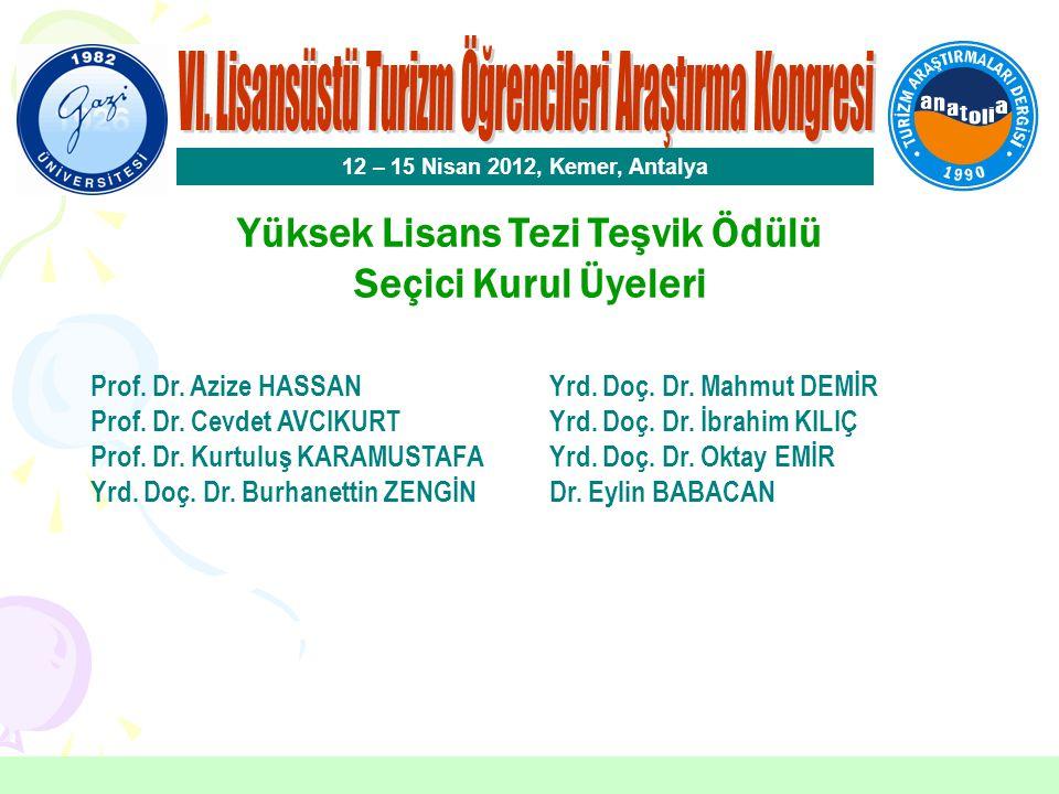 Yüksek Lisans Tezi Teşvik Ödülü Eren ERKILIÇ Afyon Kocatepe Üniversitesi 12 – 15 Nisan 2012, Kemer, Antalya Danışman: Yrd.