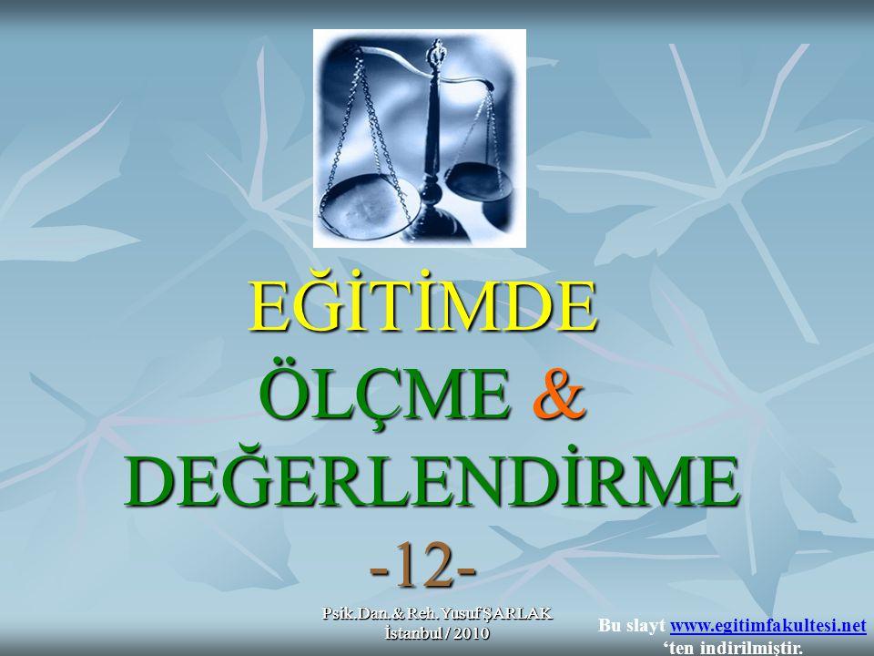 Psik.Dan.& Reh.Yusuf ŞARLAK İstanbul / 2010 SUNU İÇERİĞİ ÖLÇMEDE İSTATİSTİKSEL İŞLEMLER A) TEST İSTATİSTİKLERİ 4- MERKEZİ DAĞILIM (Değişim) ÖLÇÜLERİ 4- MERKEZİ DAĞILIM (Değişim) ÖLÇÜLERİ 1- Standart Sapma 2- Ranj 3- Çeyrek Sapma Psik.Dan.& Reh.Yusuf ŞARLAK İstanbul / 2010 Bu slayt www.egitimfakultesi.net 'ten indirilmiştir.www.egitimfakultesi.net