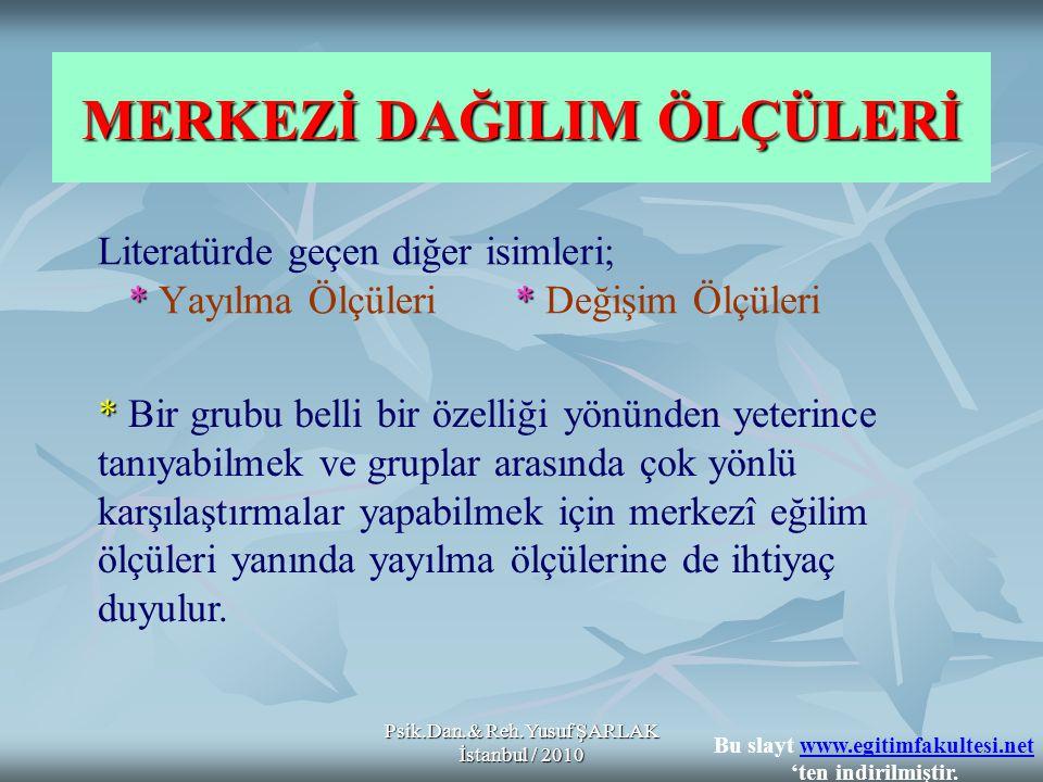 Psik.Dan.& Reh.Yusuf ŞARLAK İstanbul / 2010 * * Bir merkezî yığılma (eğilim) ölçüsünün, bir grup ölçümü ne derece temsil ettiğini bir karara bağlamak ve her hangi bir ölçümün, grup ortalamasının ne kadar altında ve üstünde olduğunu (yani ölçümlerin grup içindeki yerini) göstermek için merkezî yayılma ölçüleri kullanılır.