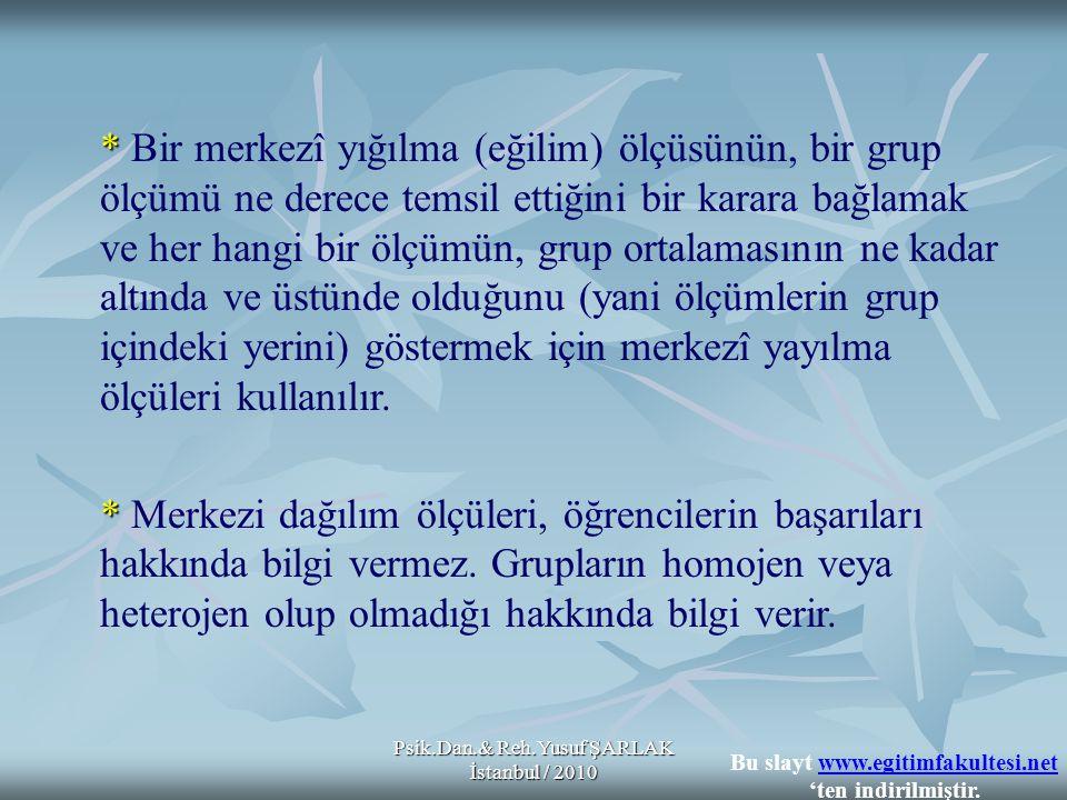 Psik.Dan.& Reh.Yusuf ŞARLAK İstanbul / 2010 * * Bir merkezî yığılma (eğilim) ölçüsünün, bir grup ölçümü ne derece temsil ettiğini bir karara bağlamak
