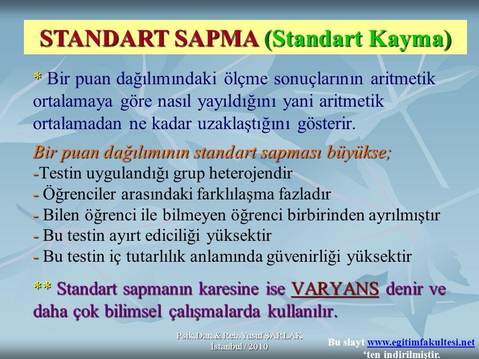 Psik.Dan.& Reh.Yusuf ŞARLAK İstanbul / 2010 S (SS) = Standart Sapma = Bütün puanların aritmetik ortalamadan farklarının kareleri toplamı FORMÜLÜ; ÖRNEK; 1010 - 15 = - 525 1414 - 15 = - 11 2121 - 15 = 636 = 45 62 Bu slayt www.egitimfakultesi.net 'ten indirilmiştir.www.egitimfakultesi.net