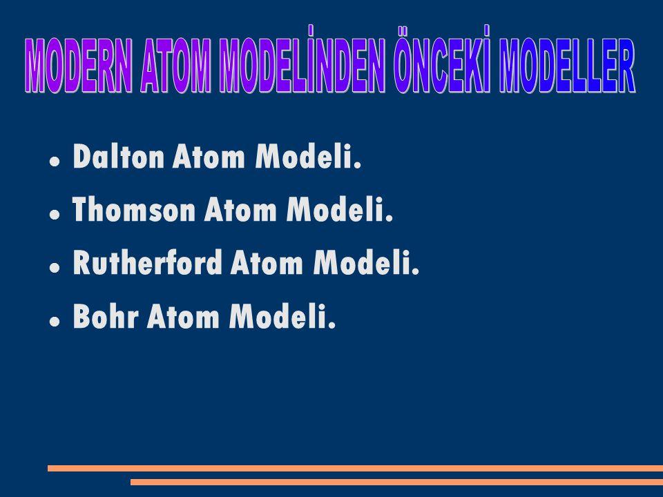 Dalton Atom Modeli. Thomson Atom Modeli. Rutherford Atom Modeli. Bohr Atom Modeli.