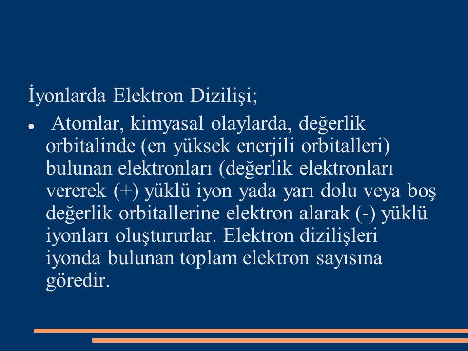 İyonlarda Elektron Dizilişi; Atomlar, kimyasal olaylarda, değerlik orbitalinde (en yüksek enerjili orbitalleri) bulunan elektronları (değerlik elektronları vererek (+) yüklü iyon yada yarı dolu veya boş değerlik orbitallerine elektron alarak (-) yüklü iyonları oluştururlar.