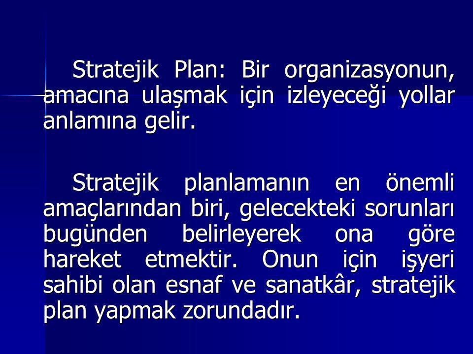 Stratejik Plan: Bir organizasyonun, amacına ulaşmak için izleyeceği yollar anlamına gelir.