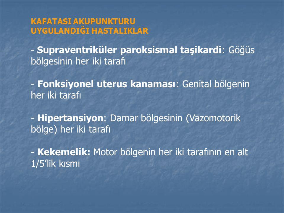 KAFATASI AKUPUNKTURU UYGULANDIĞI HASTALIKLAR - Kurdeşen (Ürtiker): Duyu bölgesinin her iki tarafının üst 3/5'lik kısmı - Üst karın ağrısı (Önce sebebi