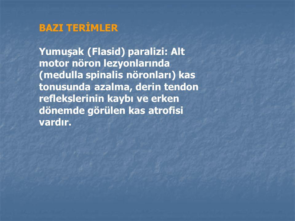 BAZI TERİMLER Spastik paralizi: Paralizi + tonus artışı görülen durum. Spastik paraliziye eşlik edenler, derin tendon reflekslerinde artma, karın cild