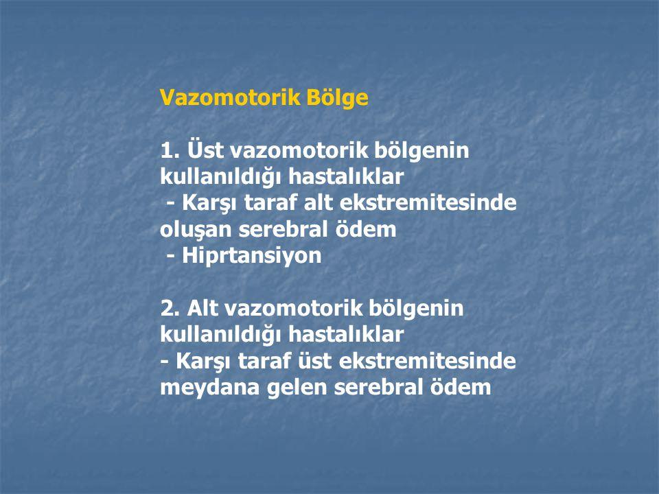 Vazomotorik Bölge Vazomotorik bölge iki kısımda incelenir: 1. Üst vazomotorik bölge 2. Alt vazomotorik bölge