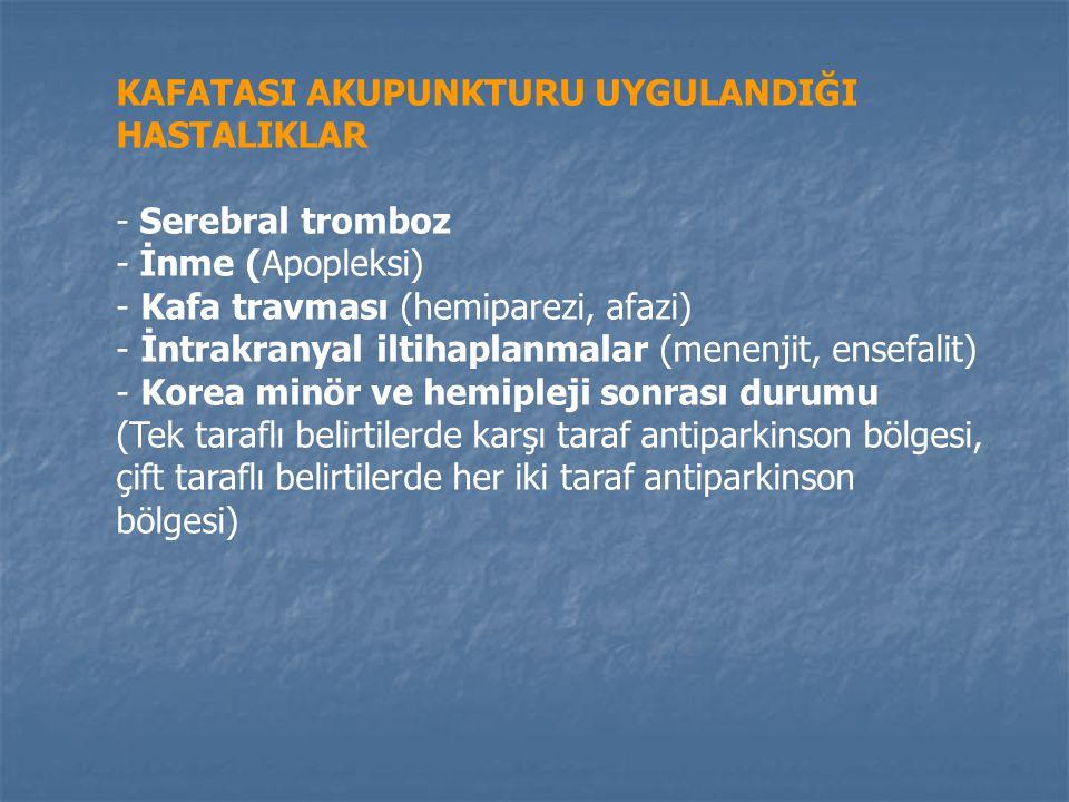 KAFATASI AKUPUNKTURU UYGULANDIĞI HASTALIKLAR - Serebral tromboz - İnme (Apopleksi) - Kafa travması (hemiparezi, afazi) - İntrakranyal iltihaplanmalar (menenjit, ensefalit) - Korea minör ve hemipleji sonrası durumu (Tek taraflı belirtilerde karşı taraf antiparkinson bölgesi, çift taraflı belirtilerde her iki taraf antiparkinson bölgesi)