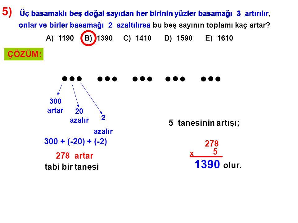 5) A) 1190 B) 1390 C) 1410 D) 1590 E) 1610 Üç basamaklı beş doğal sayıdan her birinin yüzler basamağı 3 artırılır, onlar ve birler basamağı 2 azaltılı