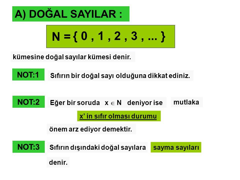 A) DOĞAL SAYILAR : N = { 0, 1, 2, 3,... } kümesine doğal sayılar kümesi denir. x' in sıfır olması durumu NOT:1 Sıfırın bir doğal sayı olduğuna dikkat