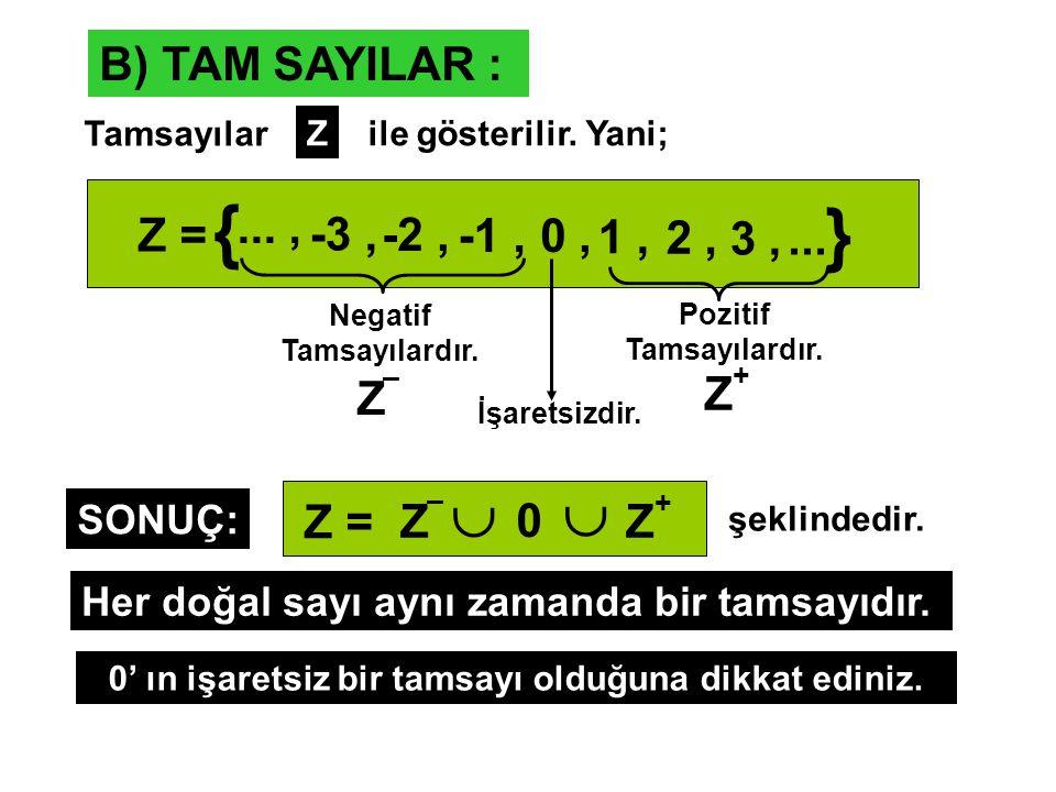 B) TAM SAYILAR : Tamsayılar Zile gösterilir.Yani; Z = {..., -3, -2, -1,0, 1, 2, 3,... } Negatif Tamsayılardır. Z – Pozitif Tamsayılardır. Z + İşaretsi