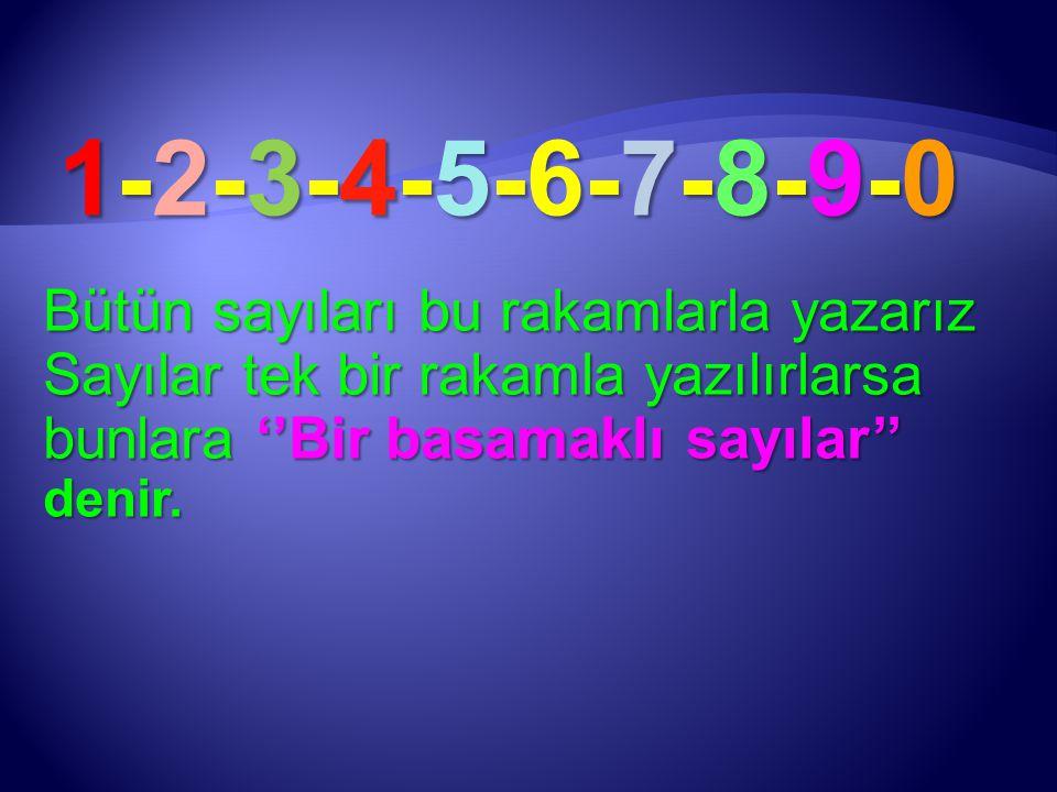 1-2-3-4-5-6-7-8-9-0 Bütün sayıları bu rakamlarla yazarız Sayılar tek bir rakamla yazılırlarsa bunlara ''Bir basamaklı sayılar'' denir.