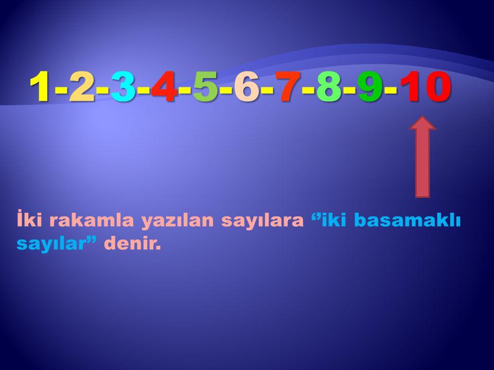 1-2-3-4-5-6-7-8-9-10 İki rakamla yazılan sayılara ''iki basamaklı sayılar'' denir.