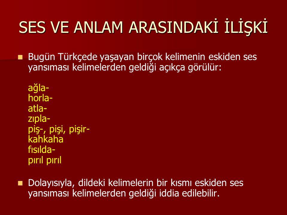 SES VE ANLAM ARASINDAKİ İLİŞKİ Bugün Türkçede yaşayan birçok kelimenin eskiden ses yansıması kelimelerden geldiği açıkça görülür: ağla- horla- atla- z